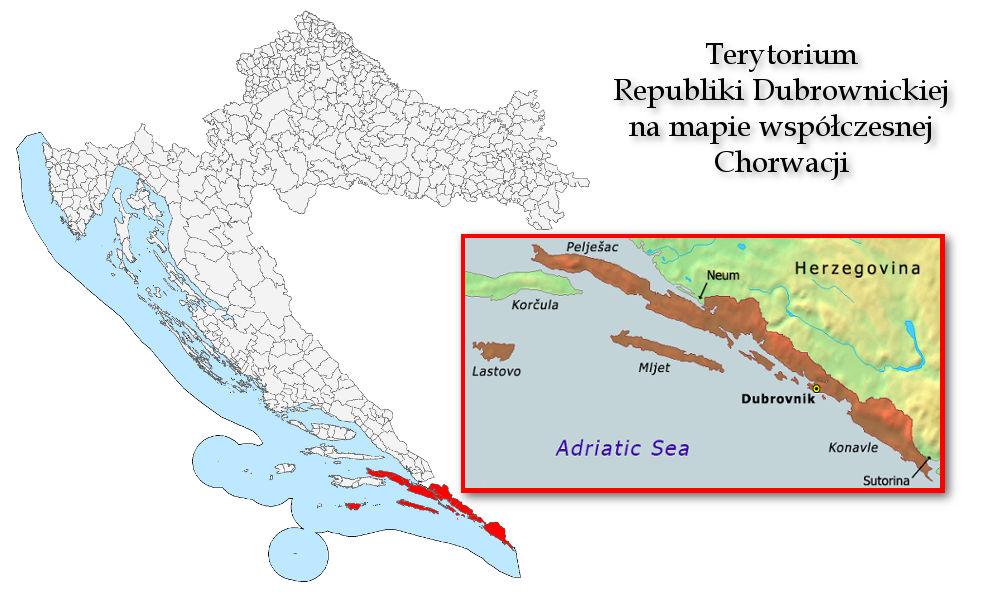 Mapa Republiki Dubrownika i jej terytorium na mapie współczesnej Chorwacji. Mapę udostępniam na licencji CC BY-SA 3.0