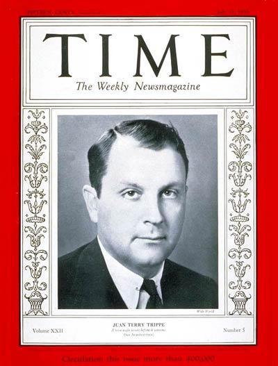 Juan Trippe na okładce tygodnika TIME w 1933r. Źródło: Wikipedia
