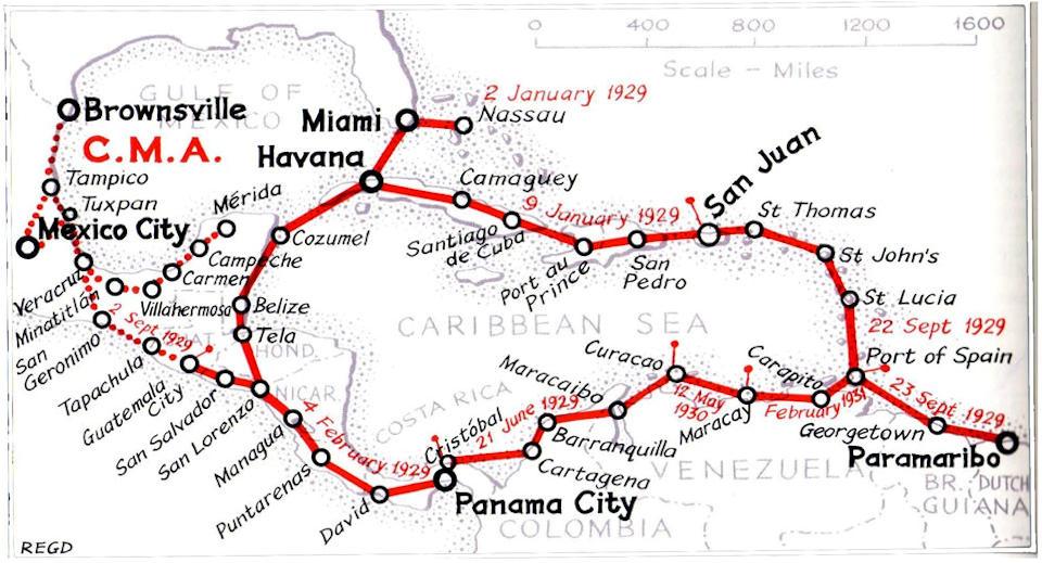 Mapa połączeń Pan Am w 1929r. Autor: R.E.G. Davies. Źródło: Pan Am Historical Foundation/  www.panam.org