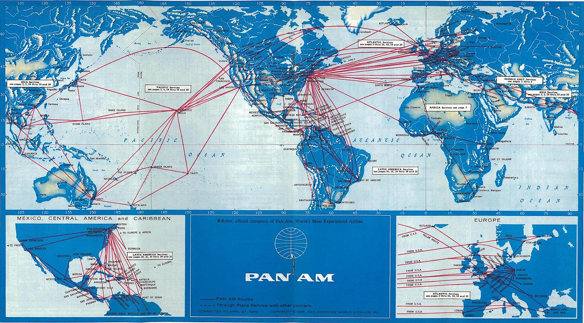 Mapa połączeń Pan Am w 1969r. Źródło: www.timetableimages.com