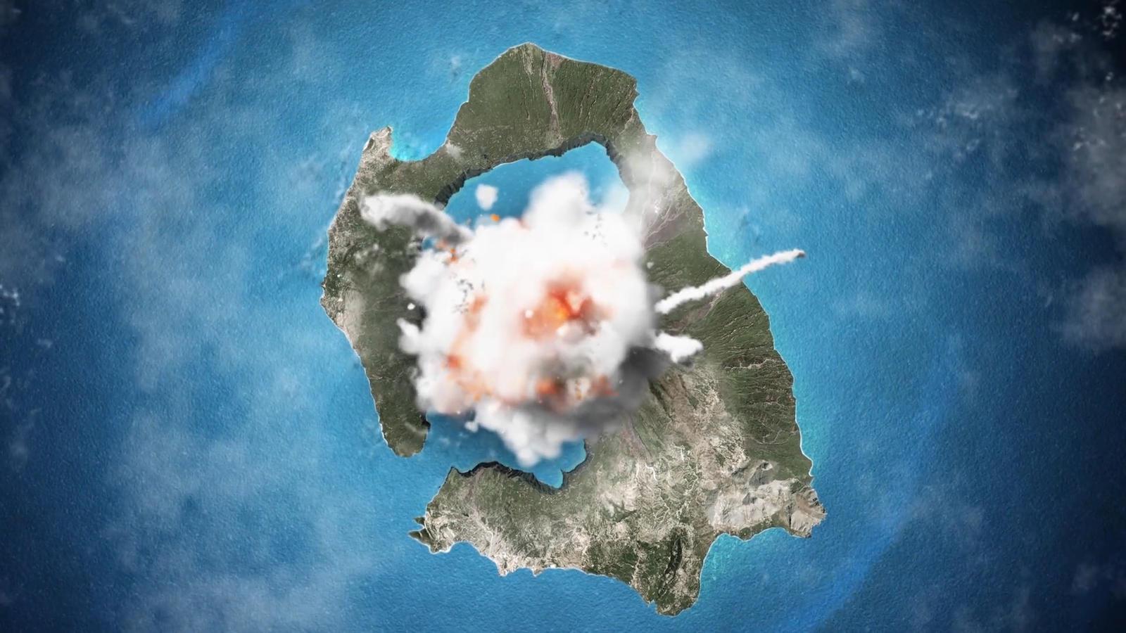 Wielki wybuch wulkanu na Santorini ok. 3,5 tys. lat temu.
